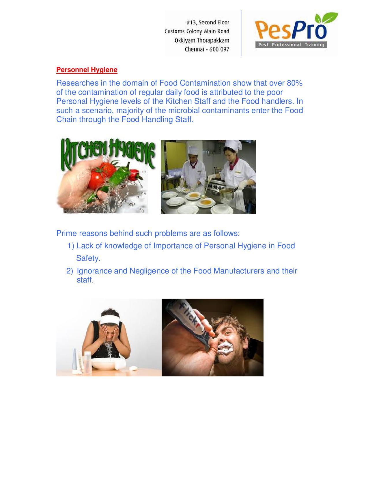 Personal Hygiene of Food Handlers | PesPro